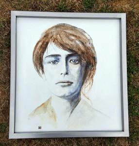 Portrait de Camille Claudel cadre métal brossé réalisé par Thierry Millet Métal Spirit - copyright © Yseult Carré
