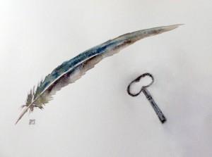 plume-de-corvide-et-clef-aquarelle-pigments-naturels-et crayon-conte-copyright-yseult-carre